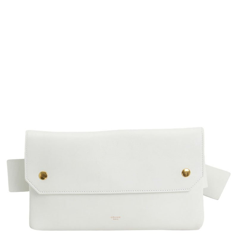5991648a2 Buy Celine White Calfskin Leather Bum Waist Bag 90277 at best price ...