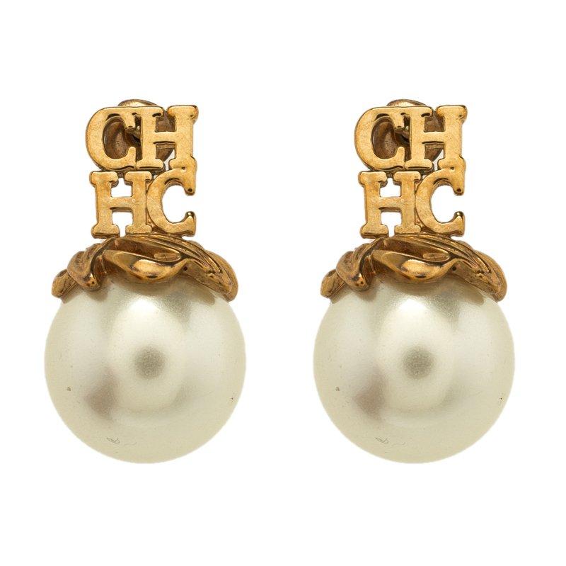 3b464b0f0842 Buy CH Carolina Herrera Logo Faux Pearl Gold Tone Stud Earrings 110790 at  best price