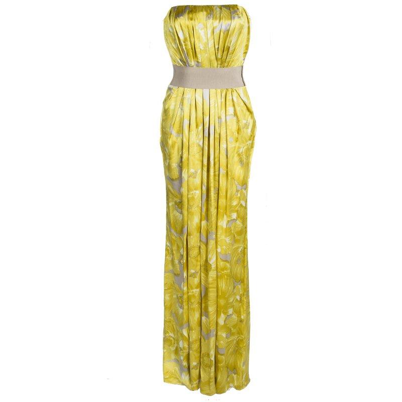 84044104e281d Buy CH Carolina Herrera Yellow Printed Silk Pleat Detail Strapless ...