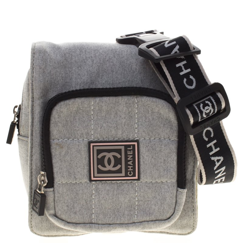 46f6a1da5e7 Chanel Grey Cotton Blend CC Logo Sport Waist Bag