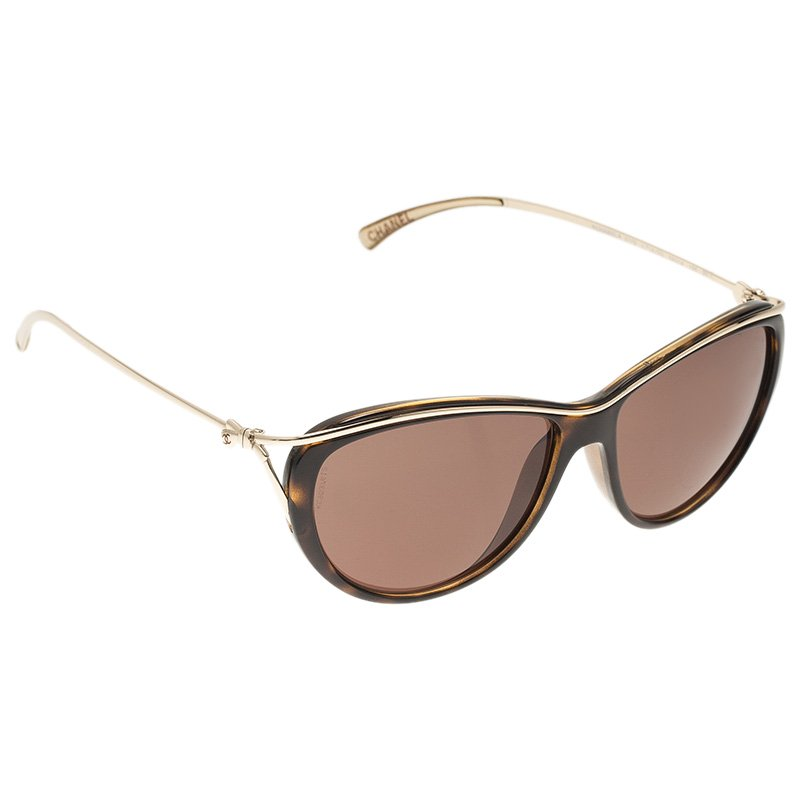 f85411566b21 Chanel Brown And Gold 5179 Cat Eye Sungles 50094 At Best