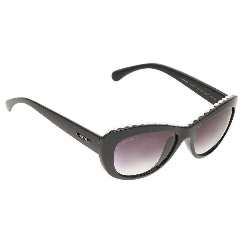 4c4cf240f1 Buy Chanel Black 6038 Pearl Embellished Cat Eye Sunglasses 50106 at ...