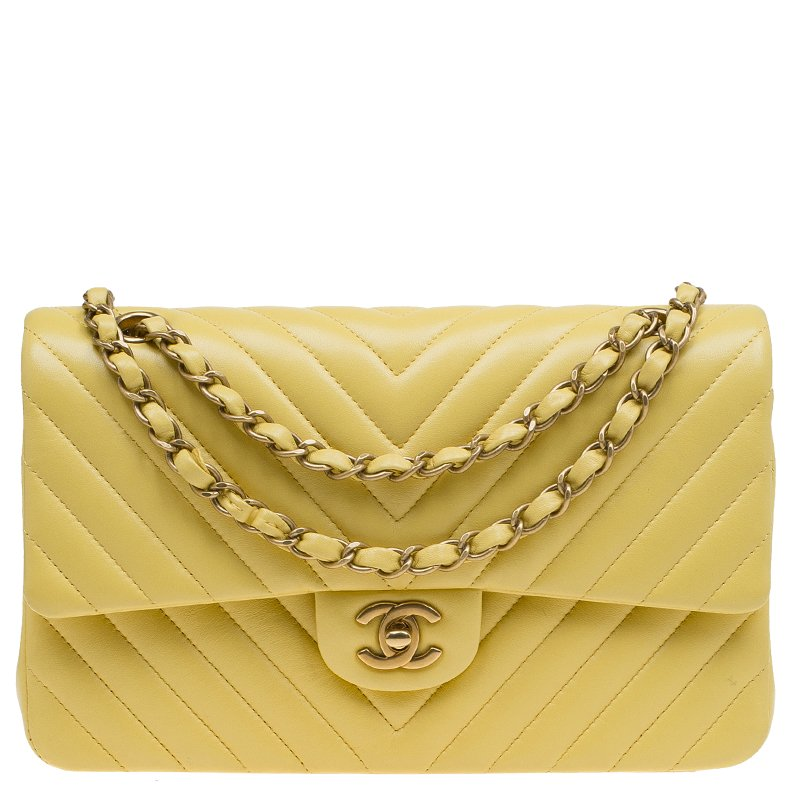 f590e2306ef6 ... Chanel Yellow Chevron Leather Medium Classic Double Flap Bag. nextprev.  prevnext