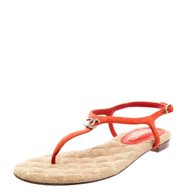cba7f4c03 Buy Chanel Orange Suede CC Embellished T Strap Thong Sandals Size 38 ...