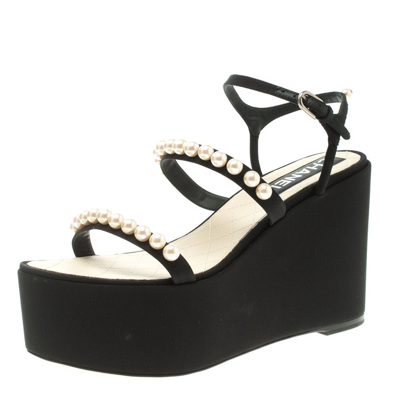 83e583b8a32d Buy Chanel Black Canvas Pearl Embellished Platform Wedge Ankle Strap ...