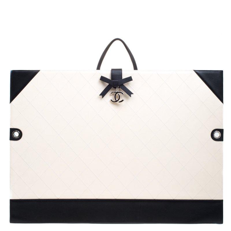 4fe2abdd976222 ... Chanel Off White/Black Quilted Leather Drawing Portfolio Bag. nextprev.  prevnext