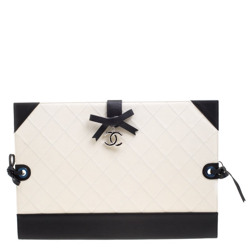 Buy Chanel Off White Black Quilted Leather Small Drawing Portfolio ... 871d7b7b7208e