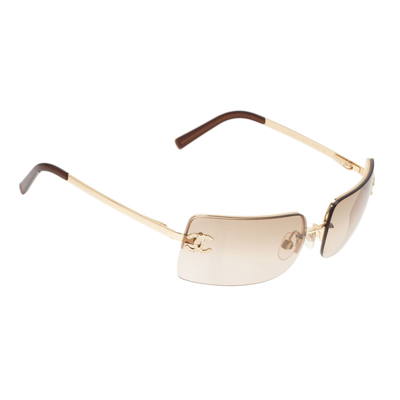 ea2414ea558 Buy Chanel Gold 4104 CC Rimless Sunglasses 1623 at best price
