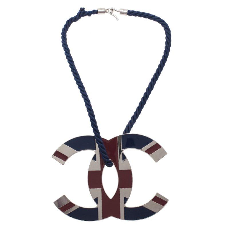 Chanel CC Large Union Jack Pendant Necklace