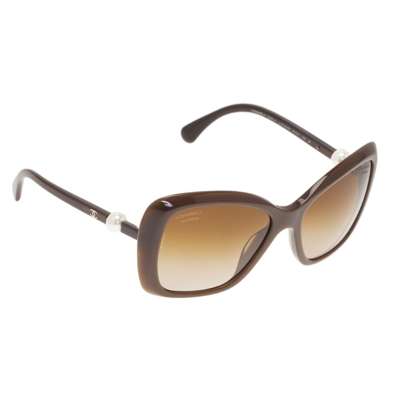 5838c673276 Buy Chanel Brown Pearl Detail Cat Eye Sunglasses 42377 at best price ...