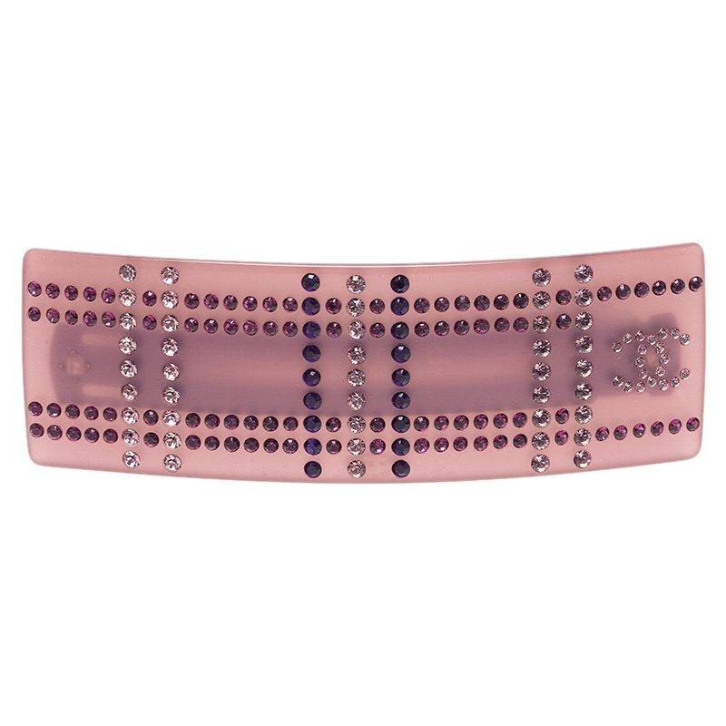 Chanel CC Crystal Pink Resin Hairclip