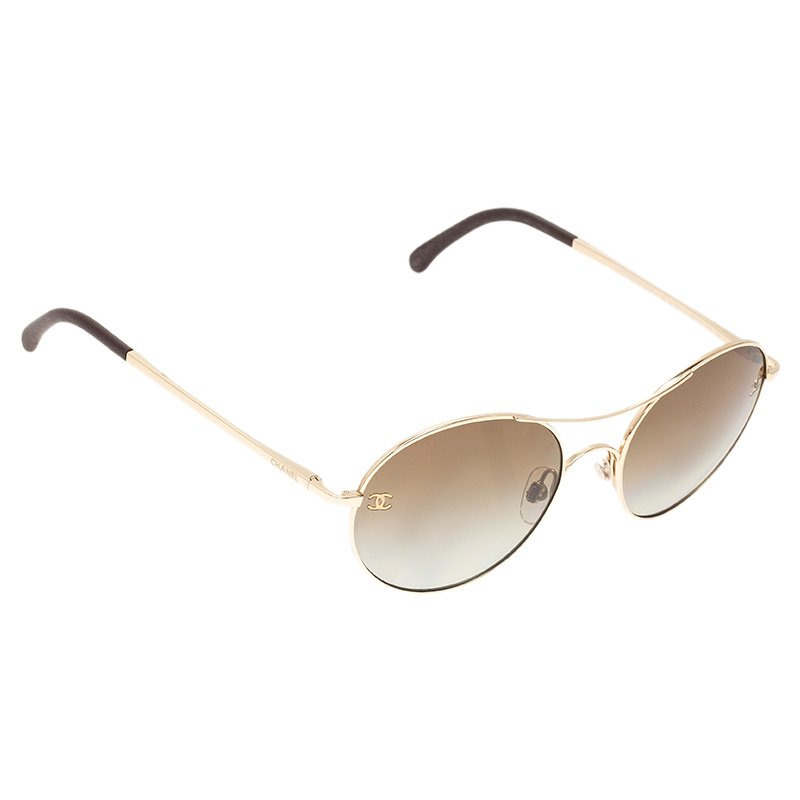 085a82cb4a Buy Chanel Gold 4190 Round Aviator Sunglasses 50109 at best price