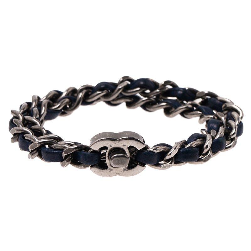 Chanel Turn Lock Blue Wrap Bracelet