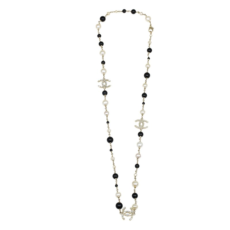 e690e59f08 Chanel CC Crystals Faux Pearls and Black Beads Long Necklace