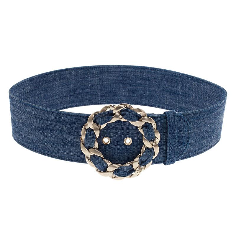 Buy Chanel Blue Denim Chain Buckle Belt 75CM 627 at best price  77eba8766e