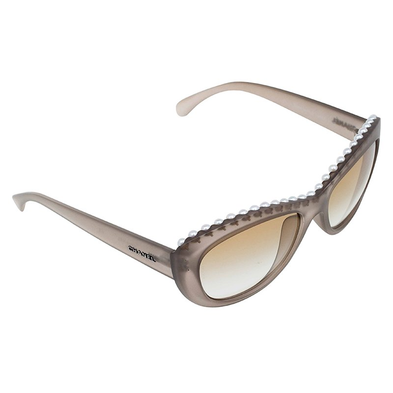 ccba5e704e Buy Chanel Grey Pearl Embellished Cat Eye Sunglasses 63543 at best ...