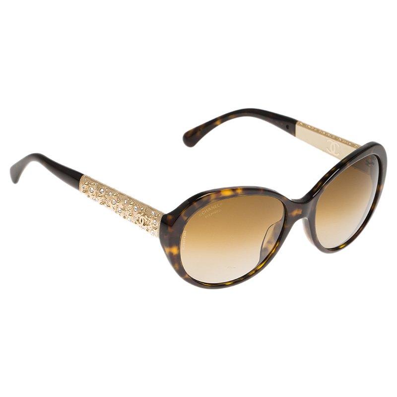 Chanel Tortoise Frame 5290 Embellished Oval Polarized Sunglasses