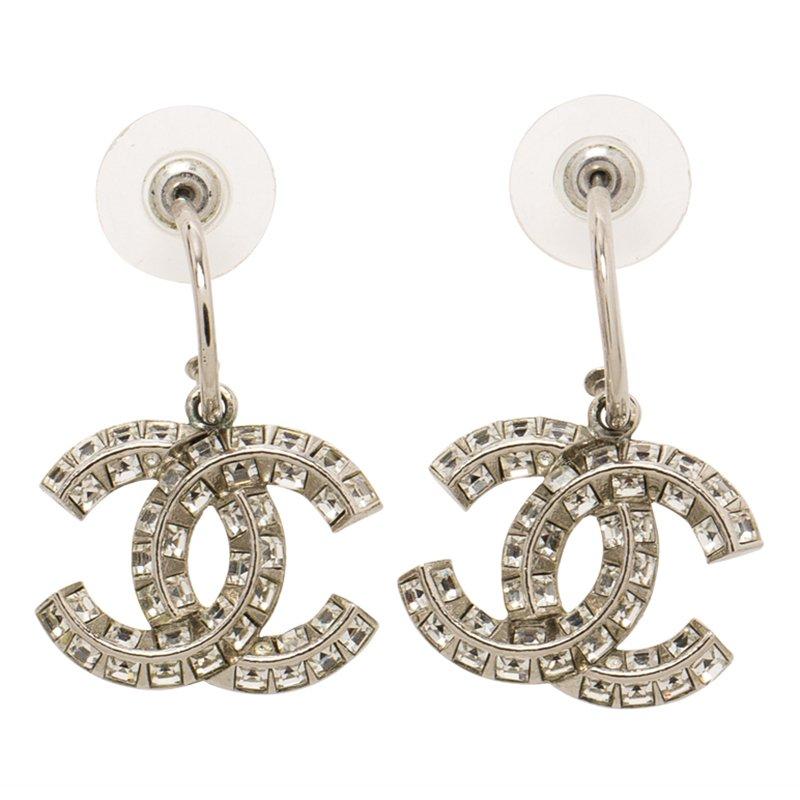 20426c92536954 ... Chanel CC Crystal Silver Tone Dangle Earrings. nextprev. prevnext