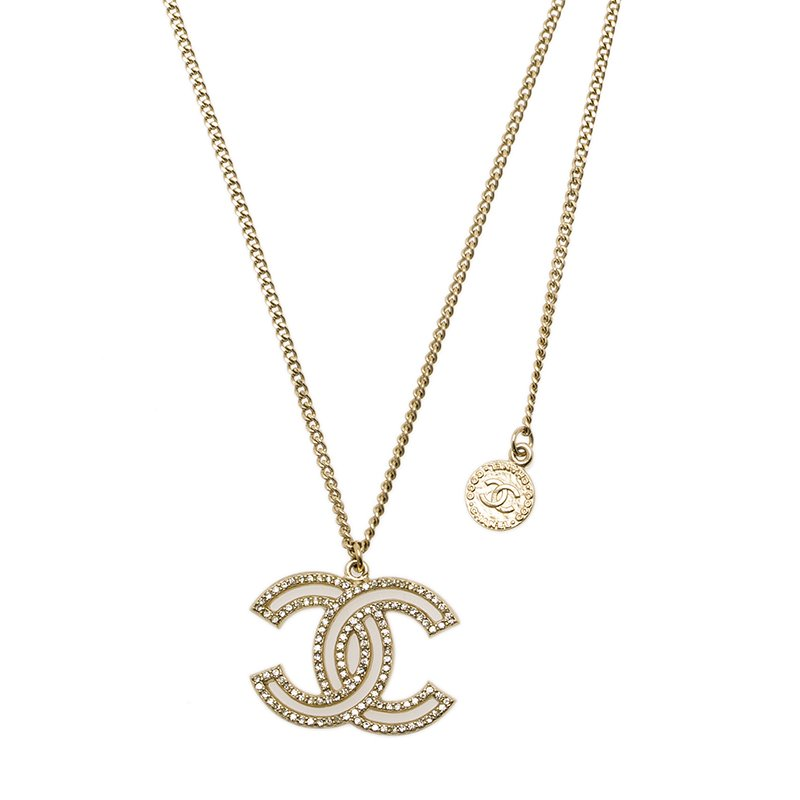 Buy Chanel 100 Anniversary CC Crystals Gold Tone Pendant Necklace ... 7f83f36815