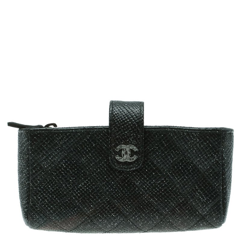 af63104302 Buy Chanel Black Quilted Glitter Caviar Leather Iphone Pouch 89650 ...