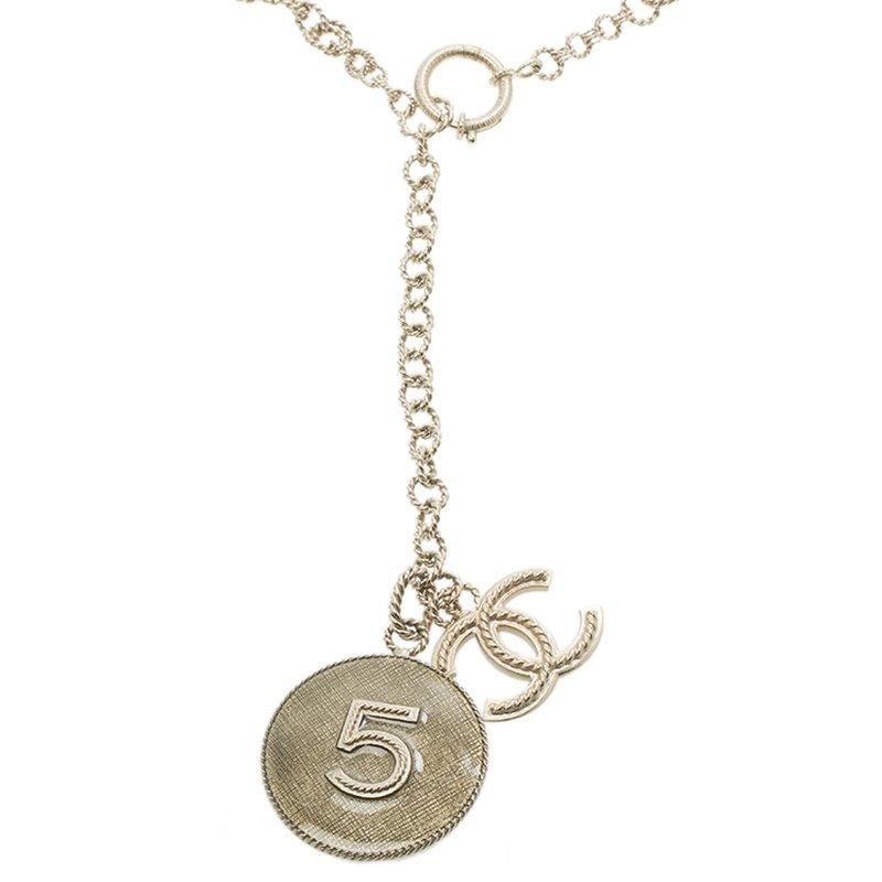 Buy Chanel CC No. 5 Enamel Pendant Gold Tone Chain Necklace 90674 at ... 452c2cf715