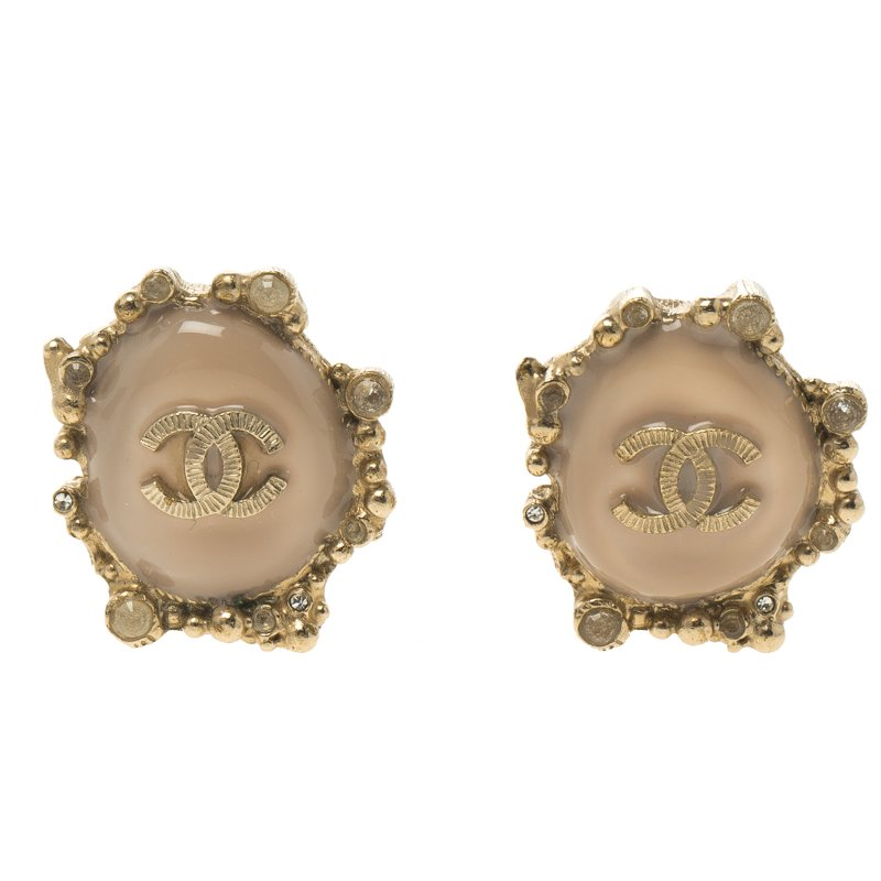 1c3e9afd559e Buy Chanel CC Pink Resin Gold Tone Clip-on Stud Earrings 91213 at ...