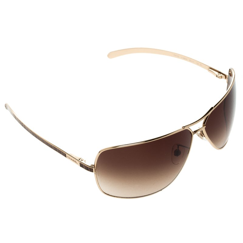 258ad7bc82477 Buy Chanel Brown/Gold 4141-Q Metal Frame and Leather Aviator ...