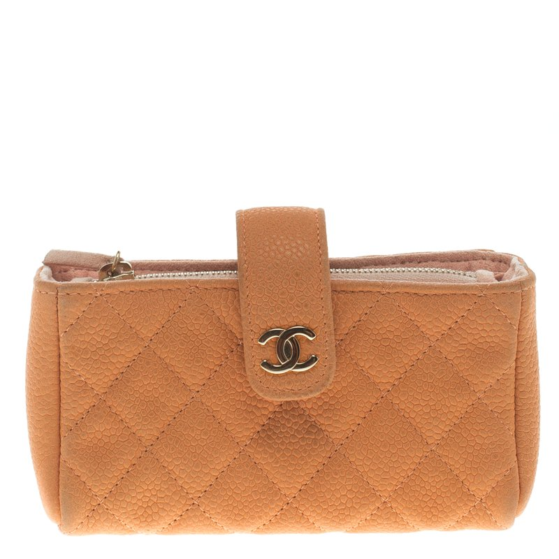 7ffd5666efb9 ... Chanel Peach Quilted Caviar Leather iPhone Pouch. nextprev. prevnext