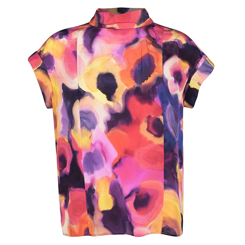 a63db08846 Chanel SS'15 Multicolor Watercolor Printed Cotton Short Sleeve Blouse M