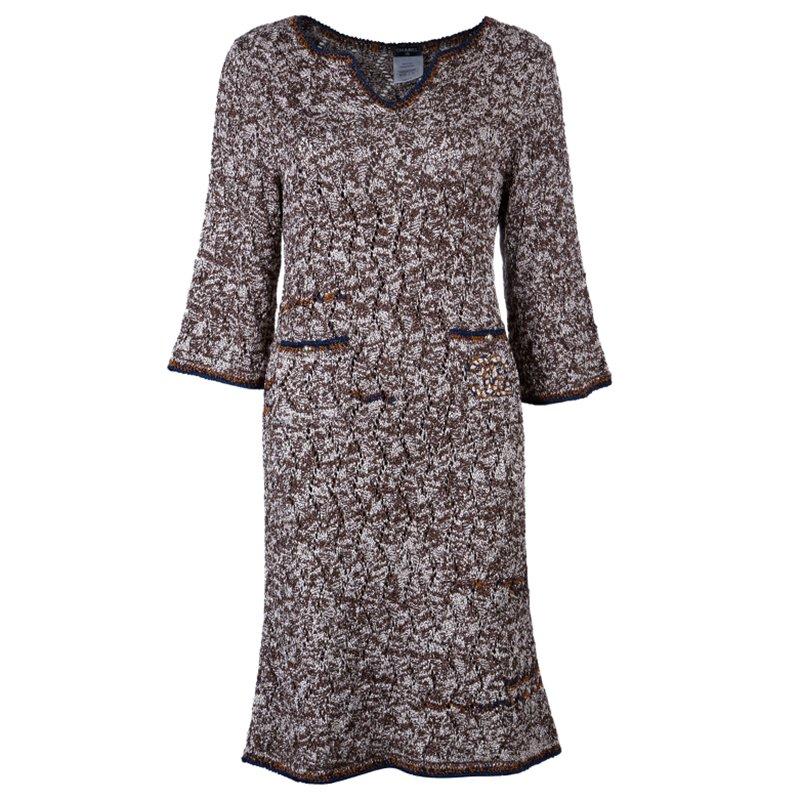 c6bfe70ca9f43 إشتري فستان شانيل تريكو ذو جيبين بني M 42782 بأفضل الاسعار