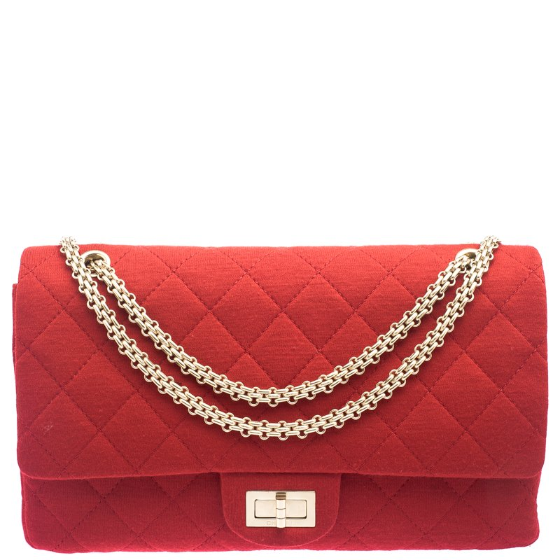 Buy Chanel Red Quilted Fabric Reissue 2.55 Classic 227 Flap Bag ... 7c7aed71d6