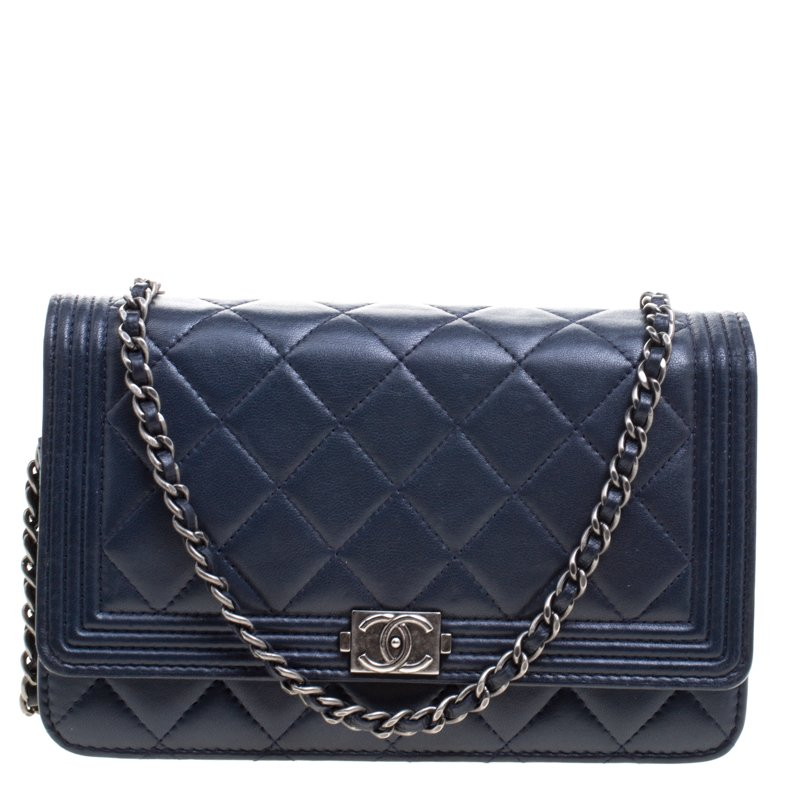 b4848f754cb68e ... Chanel Navy Blue Quilted Leather Boy WOC Clutch Bag. nextprev. prevnext