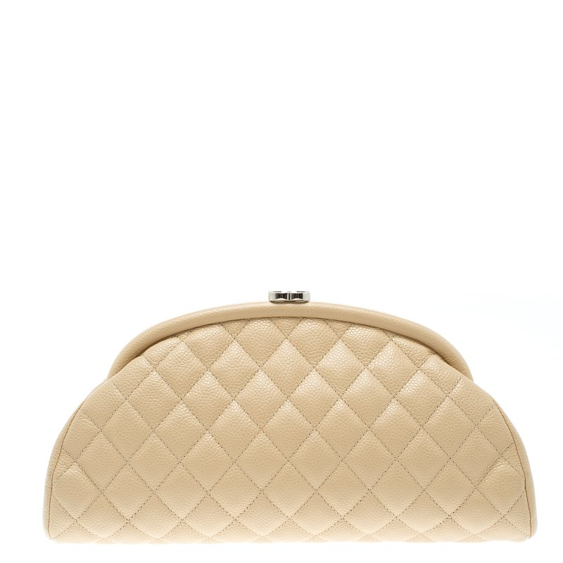 3d15fcc55a0f Buy Chanel Beige Quilted Caviar Leather Timeless Clutch 102400 at ...