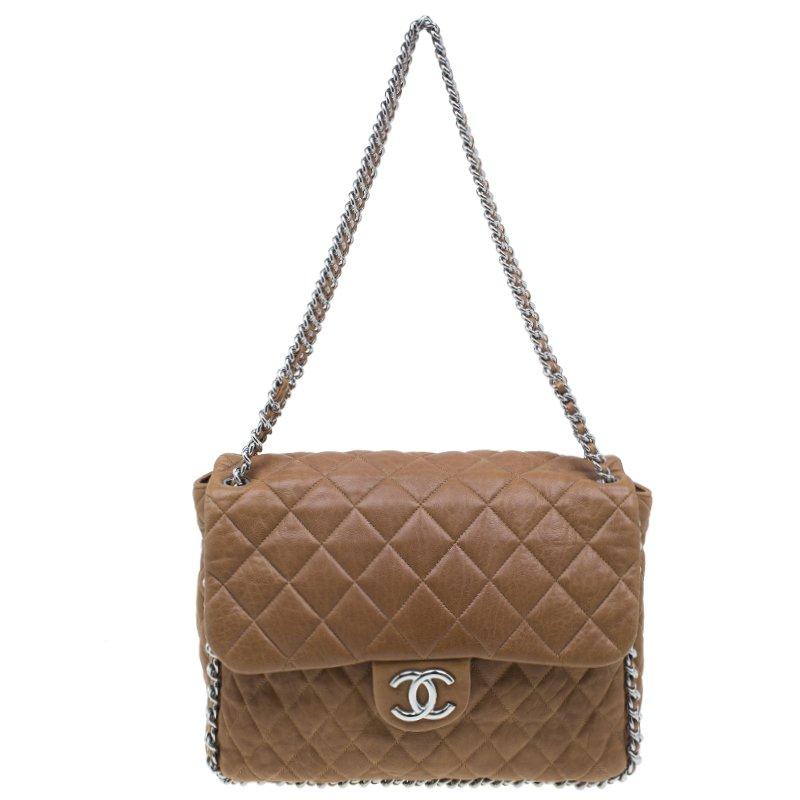 7121f57ade1abc ... Chanel Brown Leather Maxi Chain Around Flap Bag. nextprev. prevnext