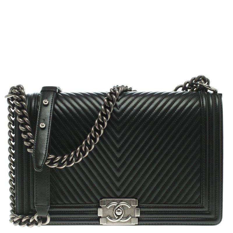 d781e8fbd37248 ... Chanel Black Chevron Leather New Medium Boy Flap Bag. nextprev. prevnext