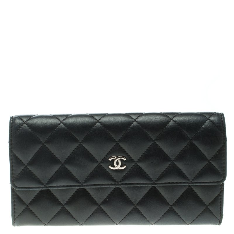 Chanel Black Quilted Leather CC Flap Continental Wallet