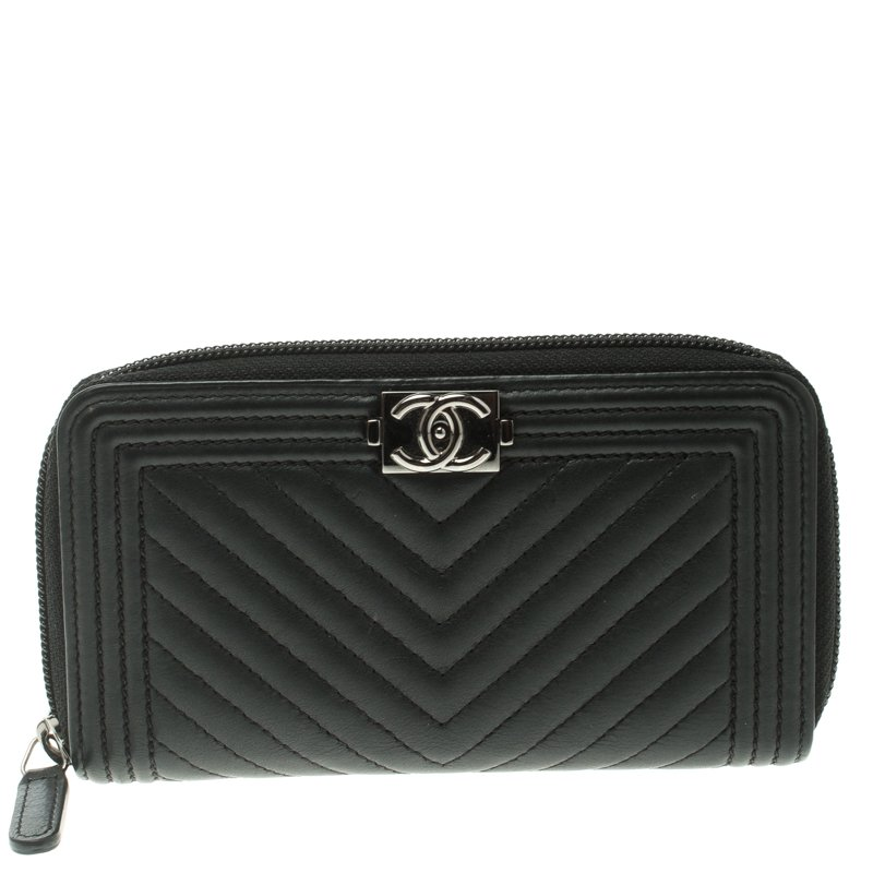 a21f7db81c0b ... Chanel Black Chevron Leather Boy Zip Around Wallet. nextprev. prevnext