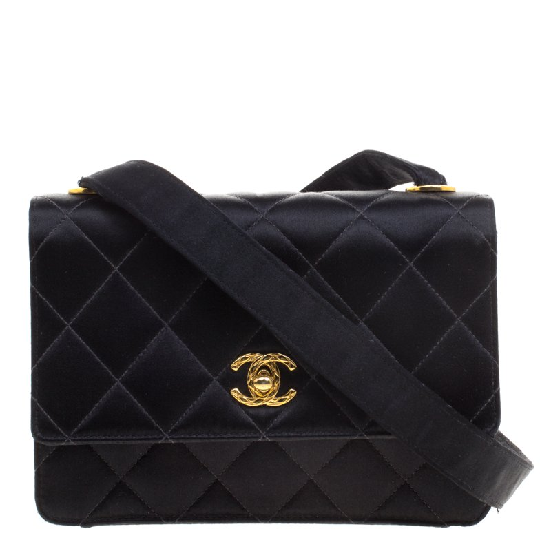 462780ed0195 ... Chanel Black Quilted Satin Classic Flap Crossbody Bag. nextprev.  prevnext