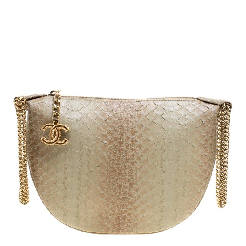 Buy Chanel Beige Python Half Moon Clutch 110791 at best price  1dd73e1646