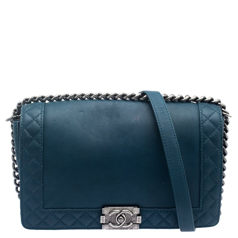 3b0c0fa30e4244 Chanel Ocean Blue Leather New Medium Reverso Boy Flap Bag 111527