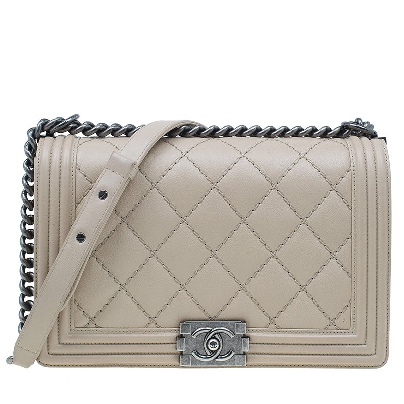 2d3bccfe1a9c8 Chanel Beige Leather Large Quilted Sched Boy Bag 1345 At Best