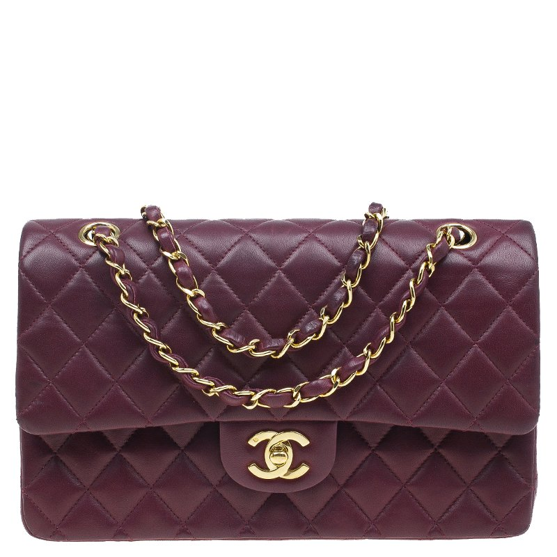 ded8f89ef2f7b5 Buy Chanel Maroon Lambskin Matelasse Medium Double Flap Shoulder Bag ...