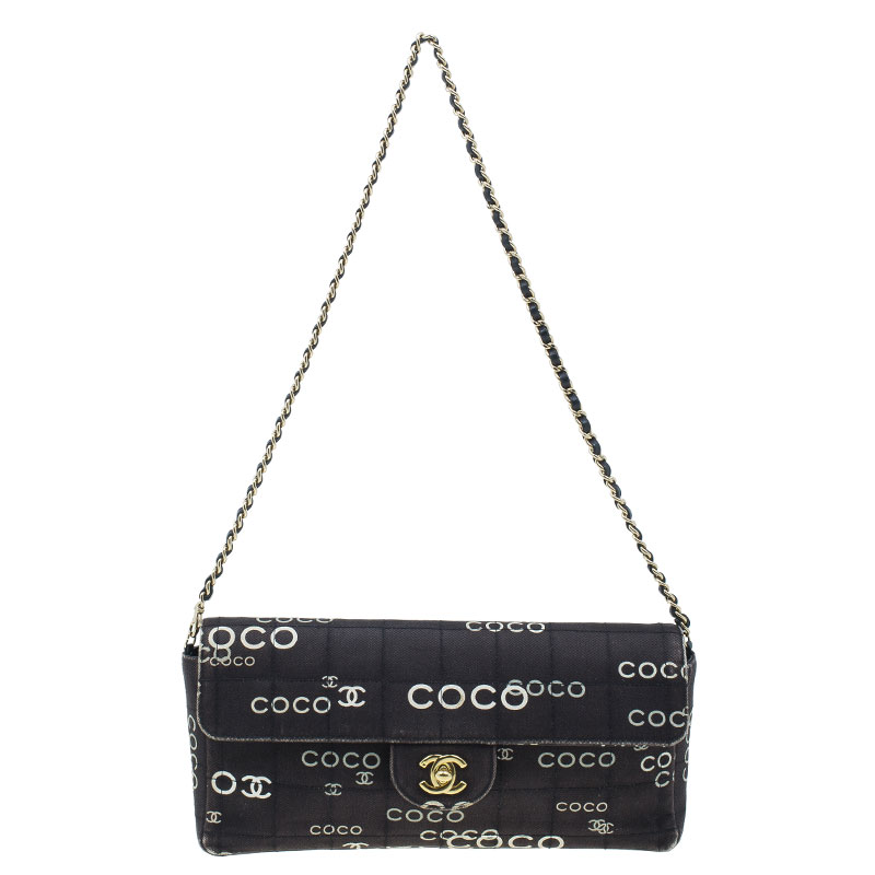 Buy Chanel Black Fabric Quilted Coco Chanel East West Flap Bag 2731 ... b9dd40cbef