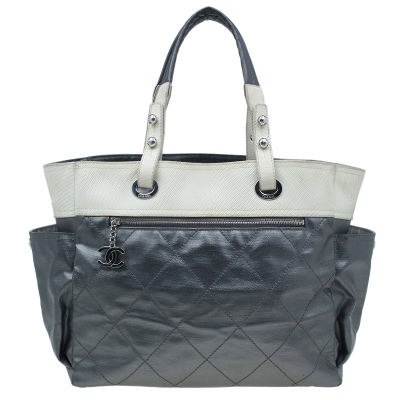 e3f6abae3e39 Buy Chanel Metallic Grey Coated Canvas Large Quilted Paris Biarritz ...