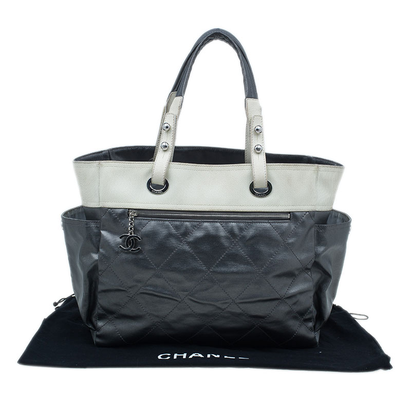 79612409 Chanel Metallic Grey Coated Canvas Large Quilted Paris Biarritz Tote