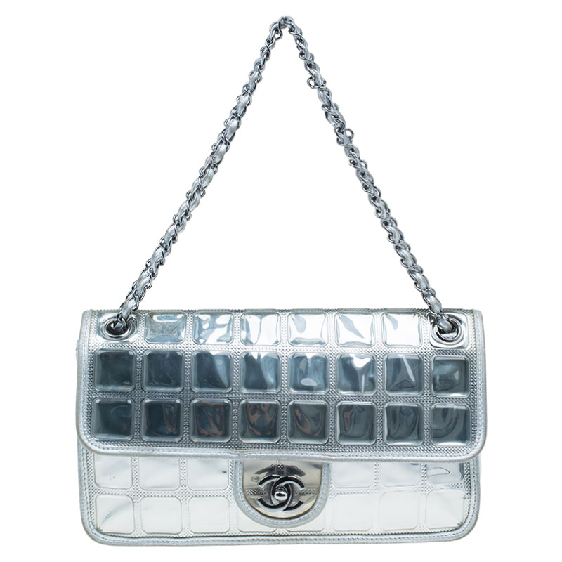 7eb724c9ebee Chanel Silver Leather Ice Cube Limited Edition Flap Bag 38517 At