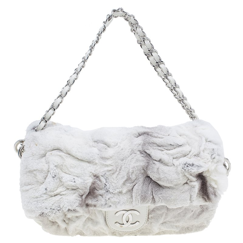 666996361374 Buy Chanel White Rabbit Fur and Leather Flap Bag 39053 at best price ...