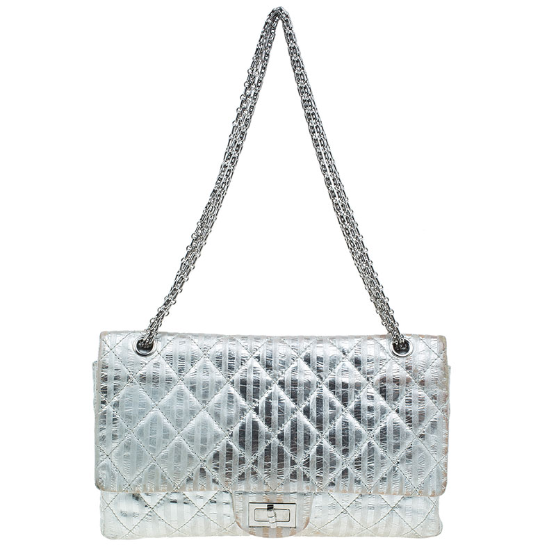 89b9ed04c00f Buy Chanel Metallic Silver Quilted Striped Leather Jumbo 2.55 ...