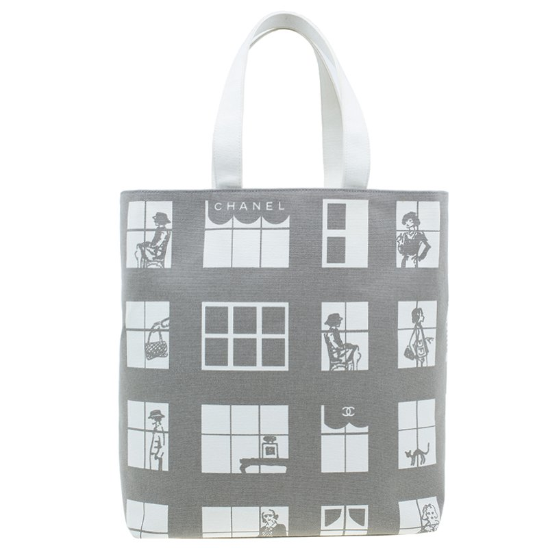 54282acd19bc Buy Chanel Grey Canvas Coco Window Tote 41673 at best price | TLC