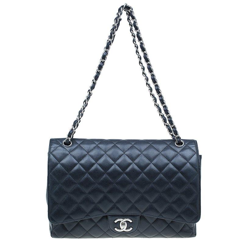ce125912 Chanel Black Caviar Leather Classic Maxi Double Flap Bag
